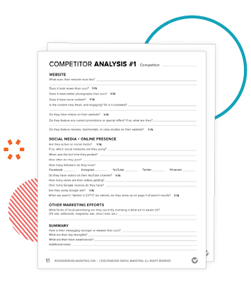 Preview of Competitor analysis worksheets in the Marketing Action Plan Workbook