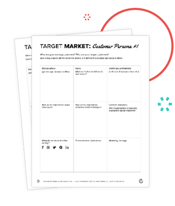 Preview of Target Persona Worksheets in the Marketing Action Plan Workbook